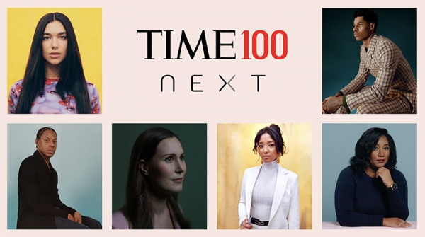 「TIME 100 NEXT 2021」を紹介するTIME誌のバナー。